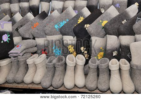 Traditional Russian Felt Boots Winter