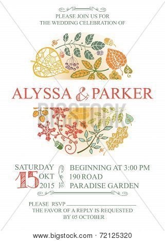Vintage wedding  invitation with leaves