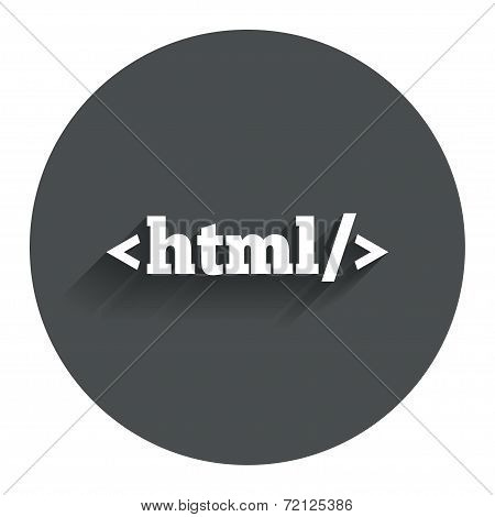 HTML sign icon. Markup language symbol.