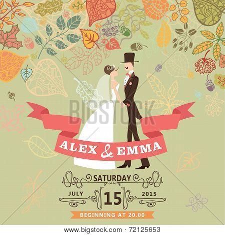Cute wedding invitation with bride,groom,autumn leaves