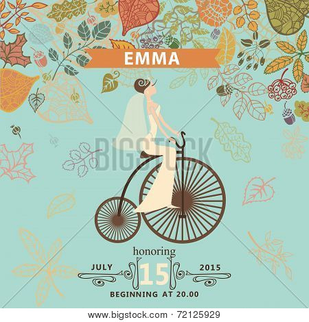 Bridal shower invitation.Bride,retro bicycle,autumn leaves