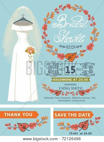 Bridal shower invitation set.Bridal dress,autumn leaves