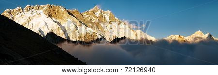 Evening View Of Lhotse, Makalu And Nuptse