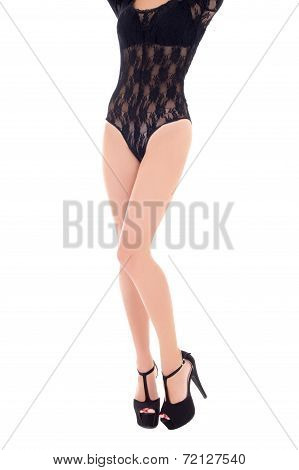 Sexy Long Female Legs In Shoes On Heels Isolated On White