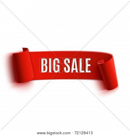 Red realistic detailed curved paper sale banner