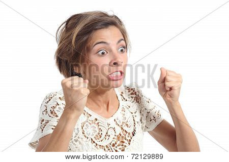 Angry Crazy Woman With Rage Expression