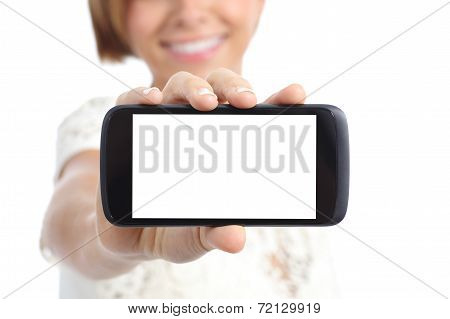 Closeup Of A Girl Hand Showing A Horizontal Blank Smartphone Screen