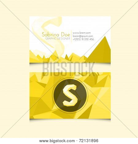 Low Poly Business Card Template With Alphabet Letter S