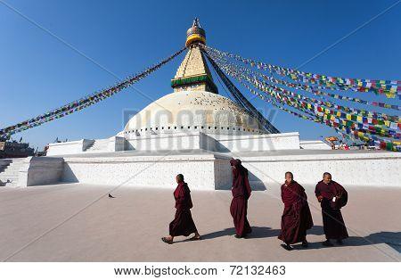 Monks Walking Around Boudhanath Stupa