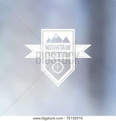 Mountain Expedition Sign On Blurred Background