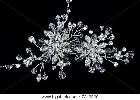 Beautiful Necklace From Crystals On A Black Background