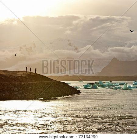 Sunset At The Famous Glacier Lagoon At Jokulsarlon - Iceland