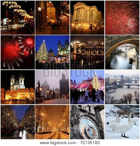 Collage Of Landmarks In Winter Prague