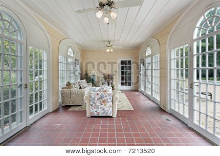Porch With Red Brick Floor
