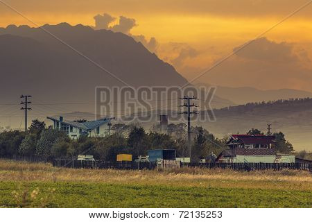 Rural Landscape At Sunset