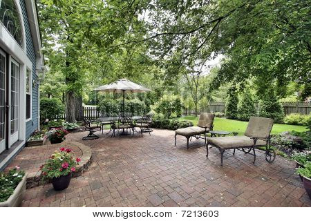 Brick Patio Of Suburban Home
