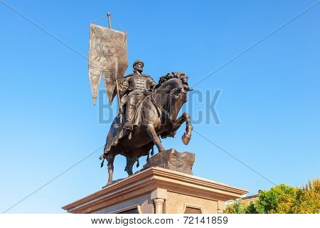 Samara, Russia - September 13, 2014: Bronze Monument To The Founder Of Samara Prince Grigory Zasekin