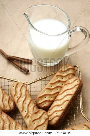 Stock Photo Of Milk And Biscuits