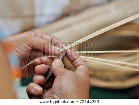 Hand Slicing Dried Bamboo