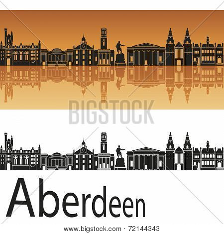 Aberdeen Skyline In Orange Background