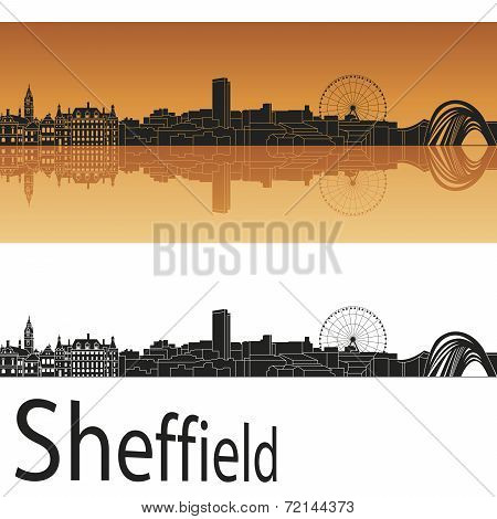 Sheffield Skyline In Orange Background