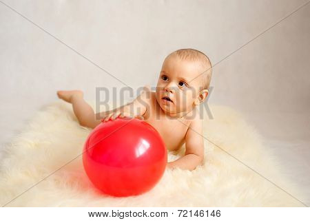 Baby Boy With Red Balloon