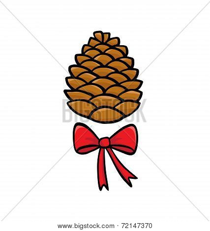 Christmas Pinecone With Bow Isolated On White