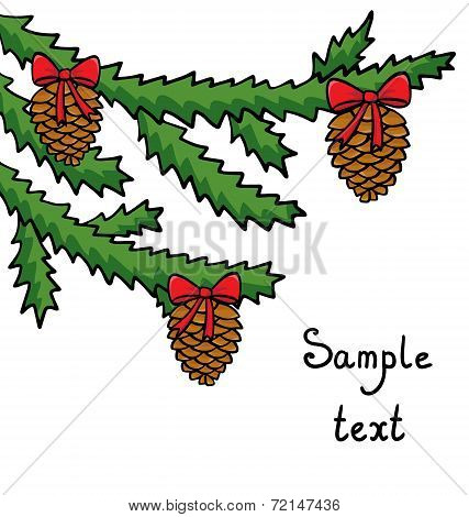 Christmas Background With Furtree Branches And Cones