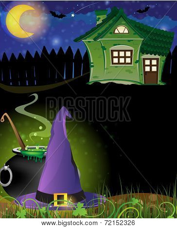 Witch Hat, Cauldron And Haunted House