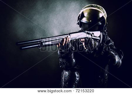 Spec ops soldier with shotgun