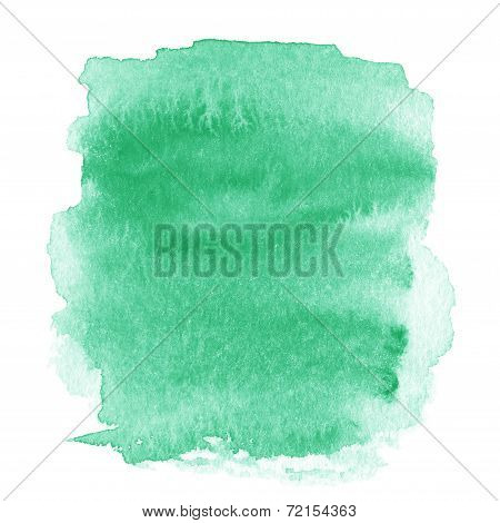 Bright Green  Spot, Watercolor Abstract Hand Painted Textured Background Isolated On White. Water Co