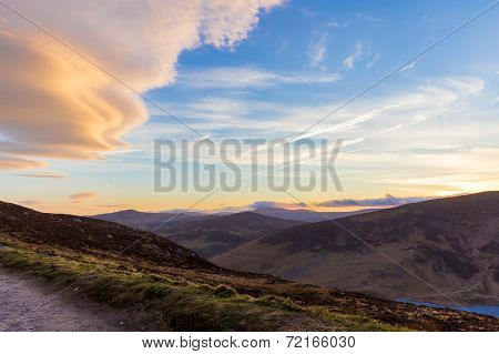 Sally Gap In Wicklow Mountains In The Evening