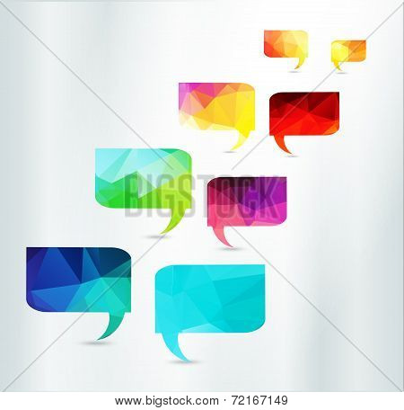 Speech Bubbles Set triangle abstract vector color illustration