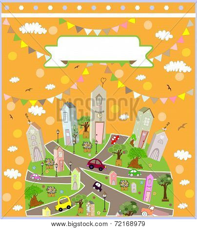Vector pattern with cute houses  background