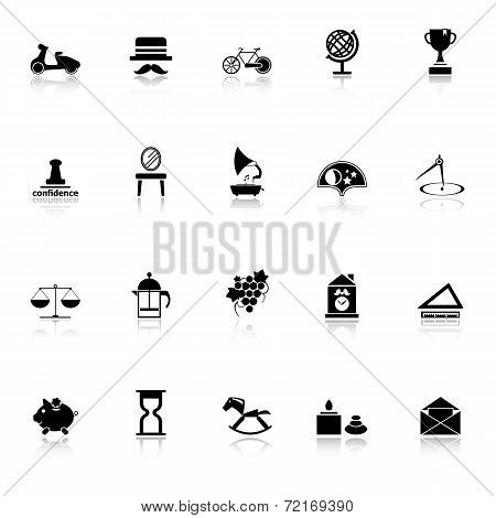 Vintage Item Icons With Reflect On White Background