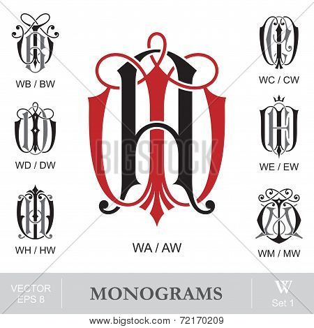 Vintage Monograms WA WB WC WD WE WH WM can also be AW BW CW DW EW HW MW
