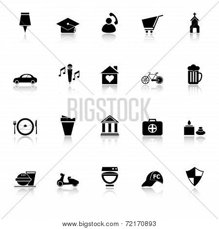 Map Sign And Symbol Icons With Reflect On White Background