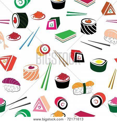 Sushi Asian Food Seamless Set