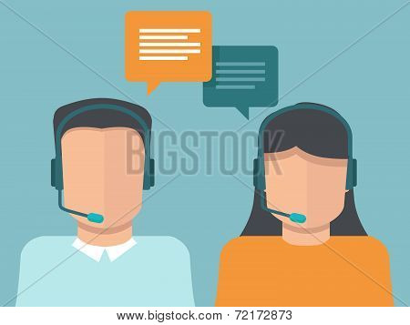 Vector Flat Call Center Operators