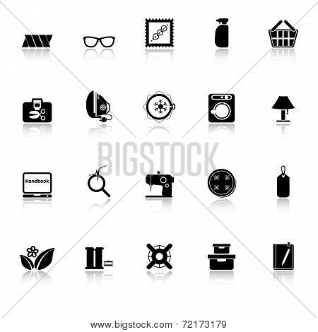 Sewing Cloth Related Icons With Reflect On White Background
