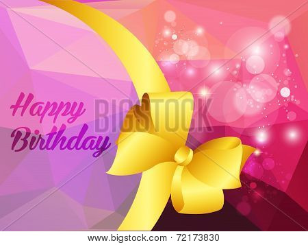 Happy birthday illustration with shine triangle and ribbon