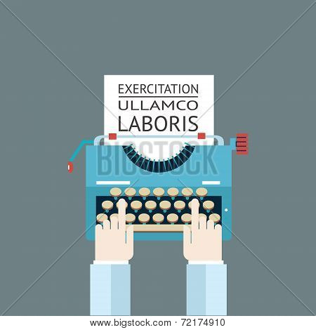 Word Power Mass Media Symbol Press Hand Typewriter Journalist Icon on Stylish Background Modern Flat