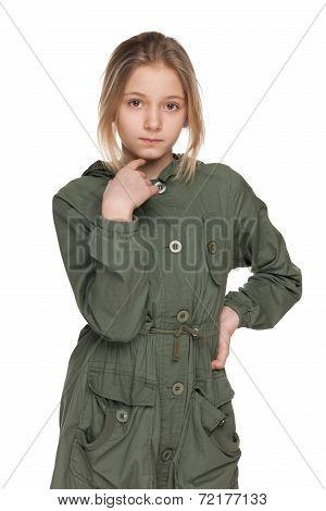 Fashion Preteen Girl In The Coat