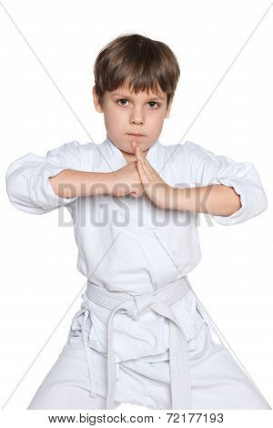 Confident Little Boy In Gi