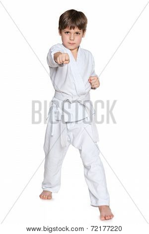 Active Little Boy In Gi