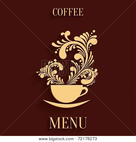 Abstract 3D Cup Of Coffee With Floral Aroma Design Element With Shadow. Design Menu Template