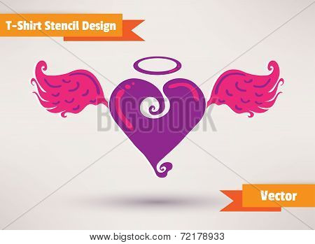 Heart with wings. T-Shirt Stencil Design vector illustration. Template for your design