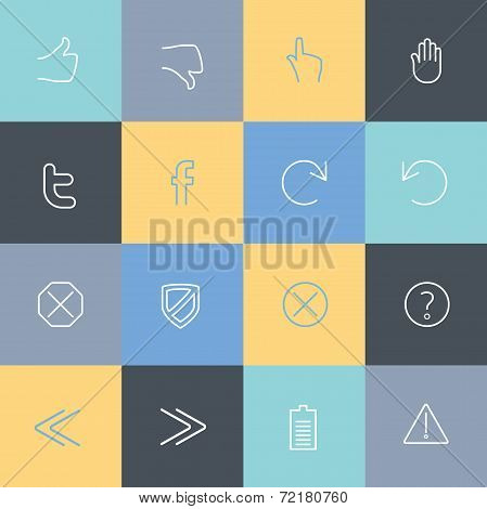 Vector collection of simple line modern icons for mobile interface. Fine line pixel aligned mobile u