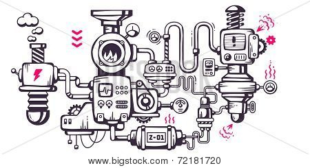 Vector Industrial Illustration Background Of The Operating Mechanism.