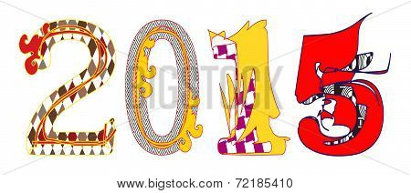 2015 colorful characters on white background.